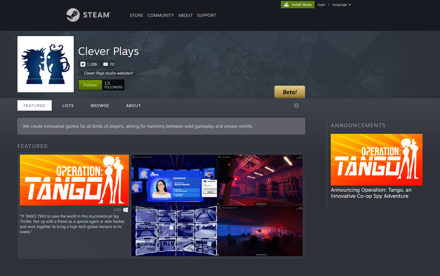 Clever Plays Steam Developer page